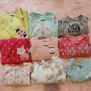 Baby girl footie pjs bundle